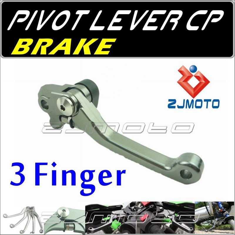 ZJMOTO Dirt bike Motorcycle 3-Finger Pivot brake Lever Adjustable aluminum CNC lever For YAMAHA YZ125/250 2001-2007