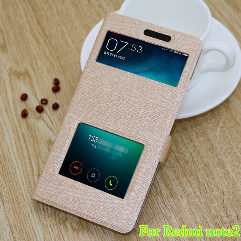 Stand Window View Flip Leather Case for xiaomi redmi note2 case, Two Window Leather Cover Cases Stand for xiaomi redmi note2