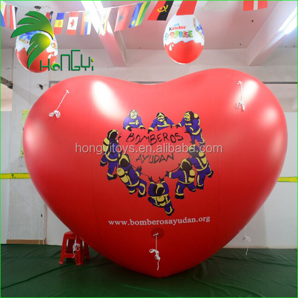 Customized Inflatable Helium Heart Shape / Giant Heart Model Toys / Red Heart Inflatable Helium Balloon