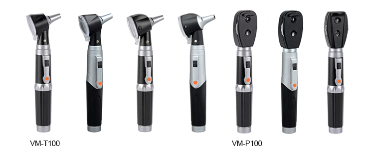 VM-TP102 Medical CE Professional ENT Diagnostic Kit Portable Otoscope Ophthalmoscope Set