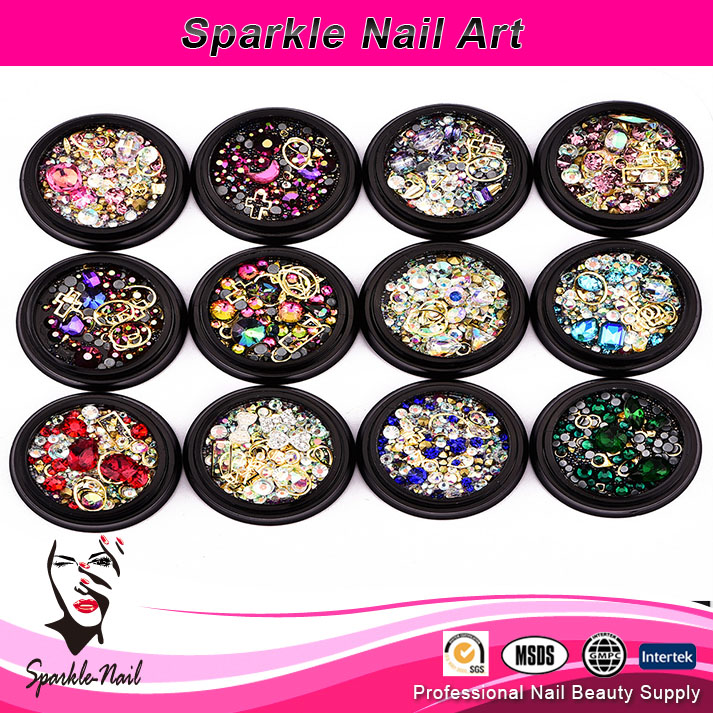 factory 3D mixed colorful crystal rhinestones nail art decoration