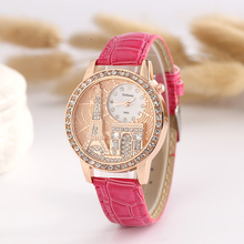 Hot Selling Eiffel Tower Pattern Exquisite Diamond Studded Lady Watch Wholesale