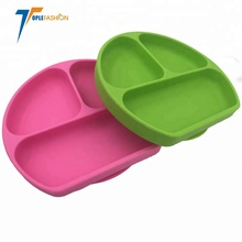 Skid Resistant and Unbreakable BPA Free Divided Baby Feeding Bowls Dishes Silicone Suction <strong>Plate</strong> for Toddlers and kids