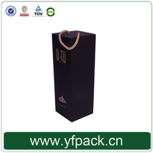 Popular Design Folding Magnetic Black Paper Cardboard With Rope Wine Box for One Bottle In Packaging Boxes