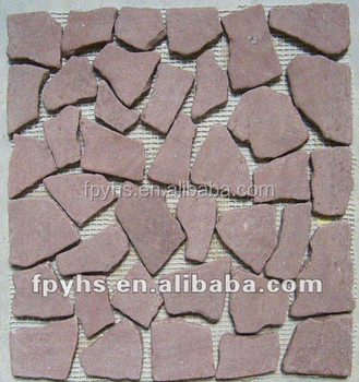 red marble mosaic floor stone