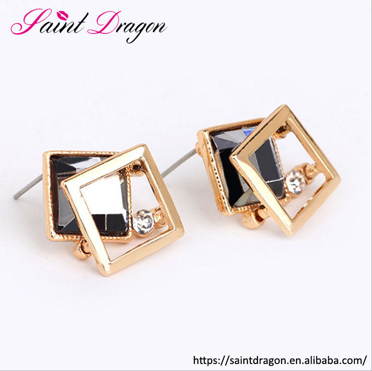 creative crystal jewelry top grade square shape glass <strong>earring</strong> fashion gemstone stud <strong>earrings</strong> wholesale