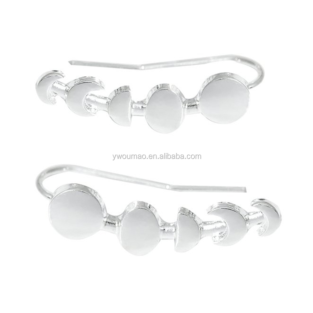 Gold&Silver Plated Jewelry Moon Phases Earring Cuff For Women Girl Gift