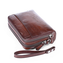 TERSE high quality mens clutch bag handmade genuine leather bags Branded custom design 2 colors in stock