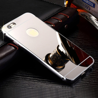 Shockproof Ultra-thin Aluminum Metal Bumper Frame Bulk Cell Phone Case with Mirror back Cover For iPhone 5 5s 6 6s plus