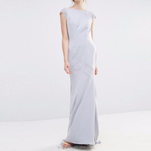 2016 pictures of latest gowns designs Lace cap sleeves elegant backless Maxi Women Wedding Dress clothing factories in china