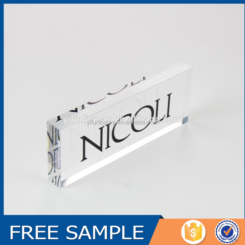 Customized Glass Stamp Clear Acrylic Logo Display Block, Clear Acrylic Block