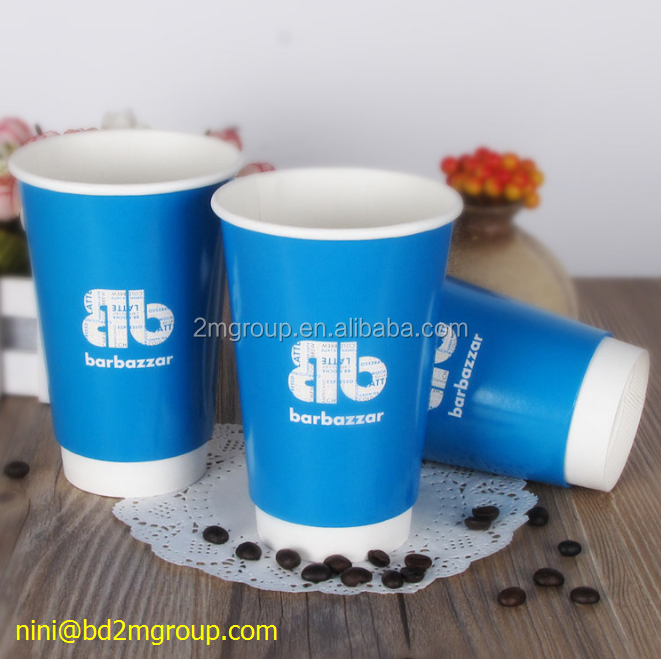 Durable double wall paper hot coffee cups with cappuccino lids