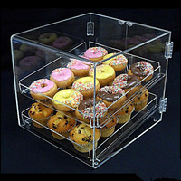 Custom high quality simple clear acrylic cupcake display box wholesale