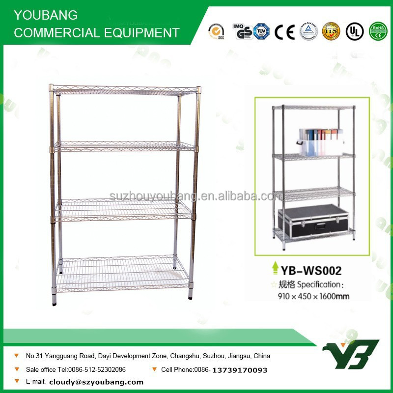 2015 hot sell NSF 150KGS heavy duty 4 layer warehouse industrial chrome wire shelf (YB-WS002)