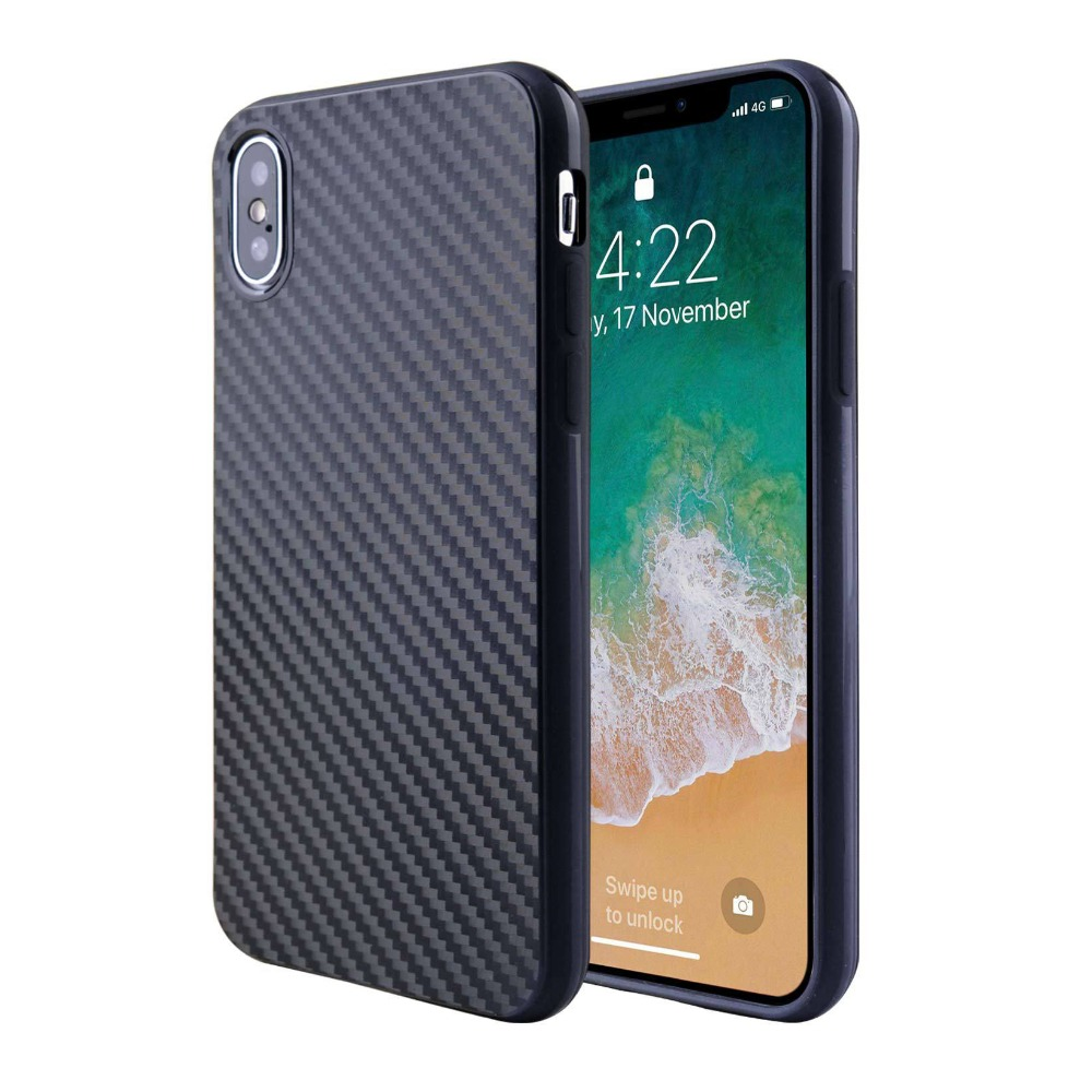High quality Thick TPU Case For iPhone X Carbon Fiber <strong>Cover</strong>