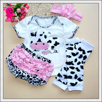 Newest Infant Girl Clothing 3pcs Sets Black Cotton Rompers Golden Ruffle Bloomers Shorts minnie Headband Baby Newborn Clothes