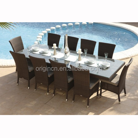 10 seater hotel outdoor large dining chair furniture and rattan long narrow table