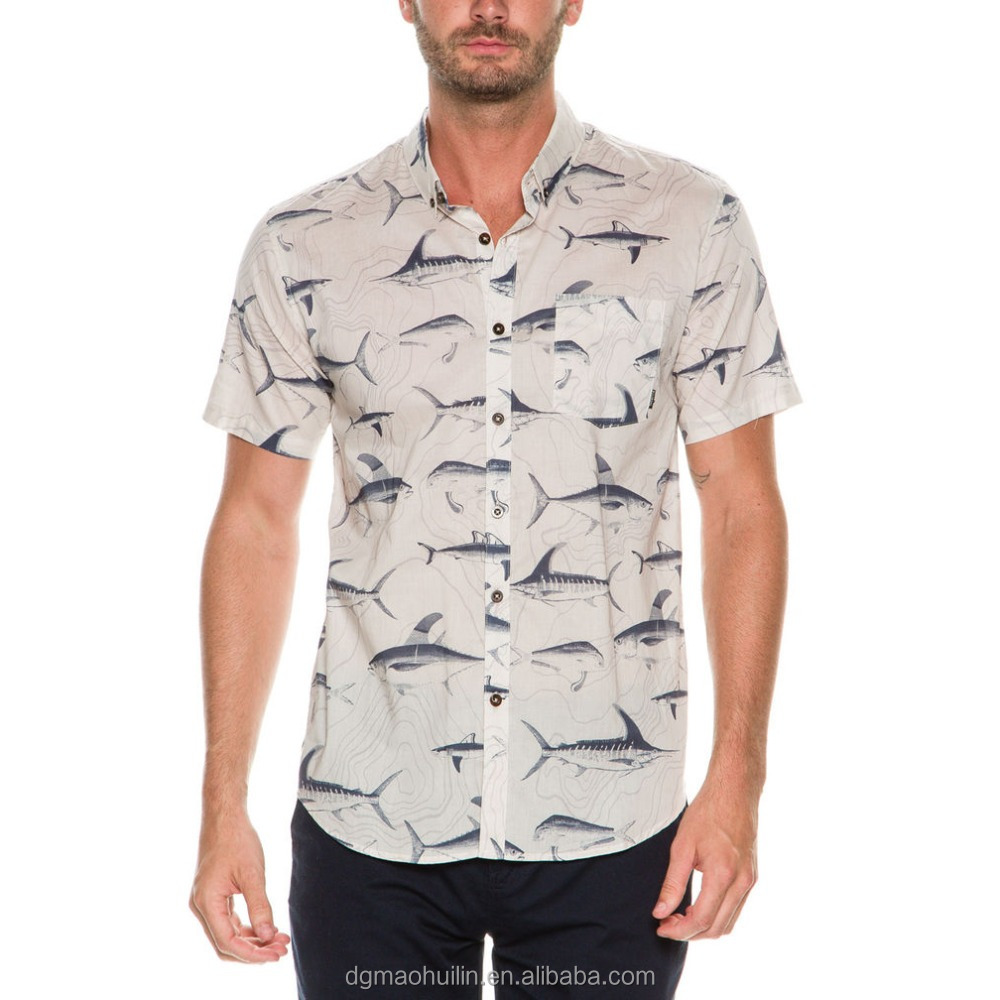 new arrival style mens floral print shirts button front short sleeve shirts
