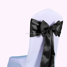 wedding decoraction satin chair cover with bow tie sashes
