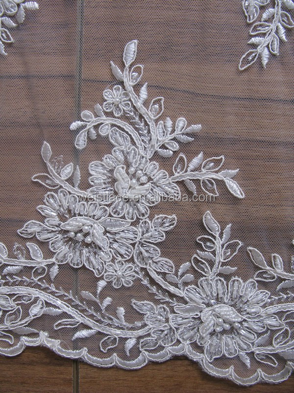 2015 good quality scalloped embroidered lace fabric with pearl beaded and corded for bridal