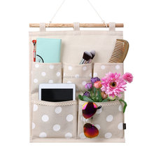 Linen Cotton Fabric Wall Door Cloth Hanging Storage Bag Case 5 Pocket Home Organizer