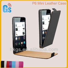 P6 Mini Leather Case, Fashion Design Leather Flip Case for Huawei Ascend P6 Mini