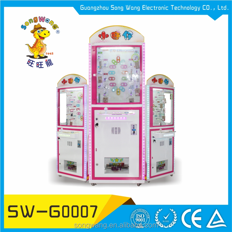 song wang mini coin operated game round crane claw prize catching machine