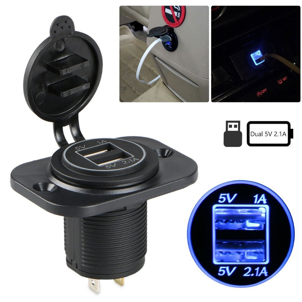 3.1A Dual USB Charger Socket Power Outlet Waterproof 12V LED for Car Boat Marine Mobile Motorcycle