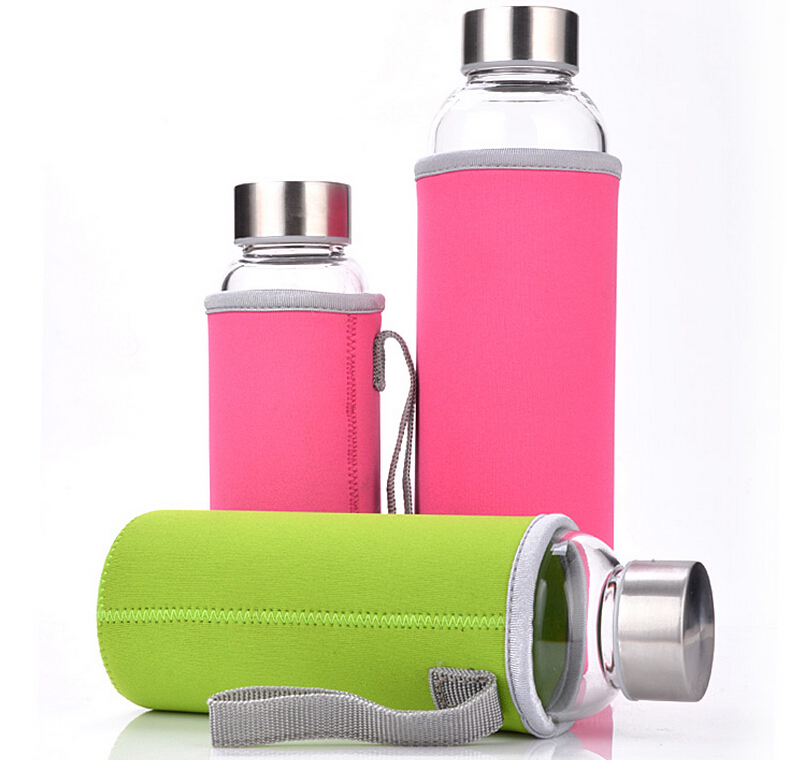 KC-08627 32 Oz Glass Water Bottle with Stainless Steel Lid Reusable Time Marked Eco Friendly BPA Free Drink More Water