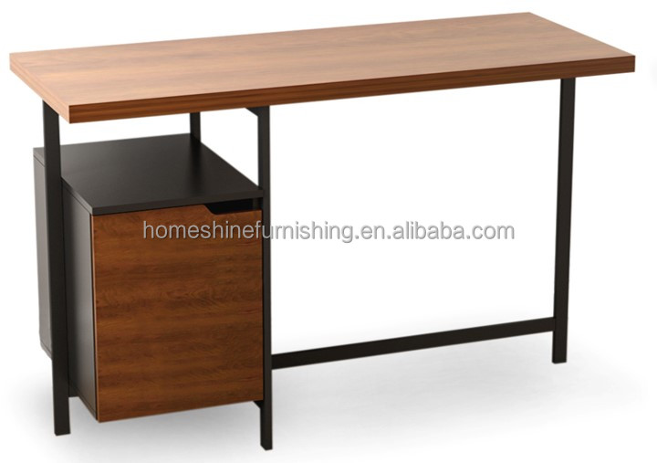 metal leg computer desk with file cabinet downside