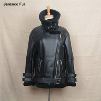 2018 New Motorcycle Leather Punk Jacket Biker Jackets Women Men Genuine Leather Coat With Real Fur
