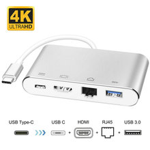 USB 3.1 Type C to HDMI RJ45 USB3.0 USB C 4 in 1 HUB Adapter for Nintendo Switch