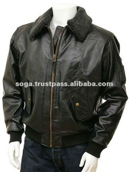 Leather Flight Jacket in Brown: