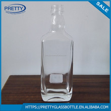 500ml flat square high white whisky glass bottle with screw cap