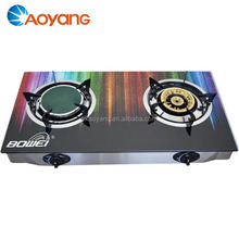 Tempered glass 2 burner 2018 smart gas stove