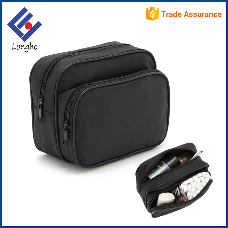 Made in china hot popular small high quality make-up bag two zipper compartments waterproof travel plain black cosmetic bag