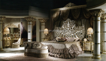Antique Carved Bedroom Furniture Set, Luxury Bisini Upholstered Furniture Set, Latest Italian Style Royal Bedroom Set