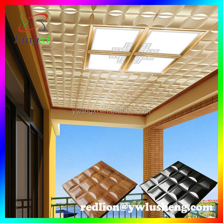 Factory outlet New design high quality 3d golden color aluminum ceiling,interior decoration Artistic Integrated Ceilings