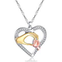 Cheap Necklace New Fashion Mother Baby Heart Pendant Necklaces Mother's Day Gift