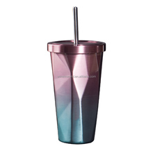 Special design stainless steel coffee mug with straw