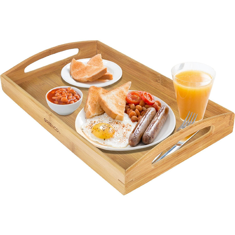 rectangular bamboo wood serving tray with handle