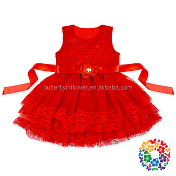 Valentine's Day Red Hearts with 3 layers chiffon lace ruffle baby dress girls with belt set