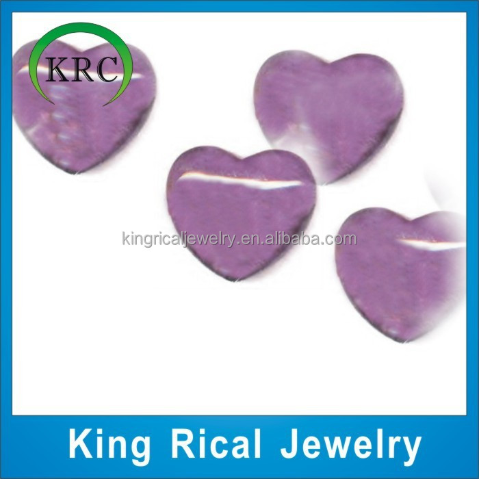 Heart Shaped Glass Stones / Colored Glass Stones,Crystal Amethyst Heart Gemstone Heart Cut For Glass Stones