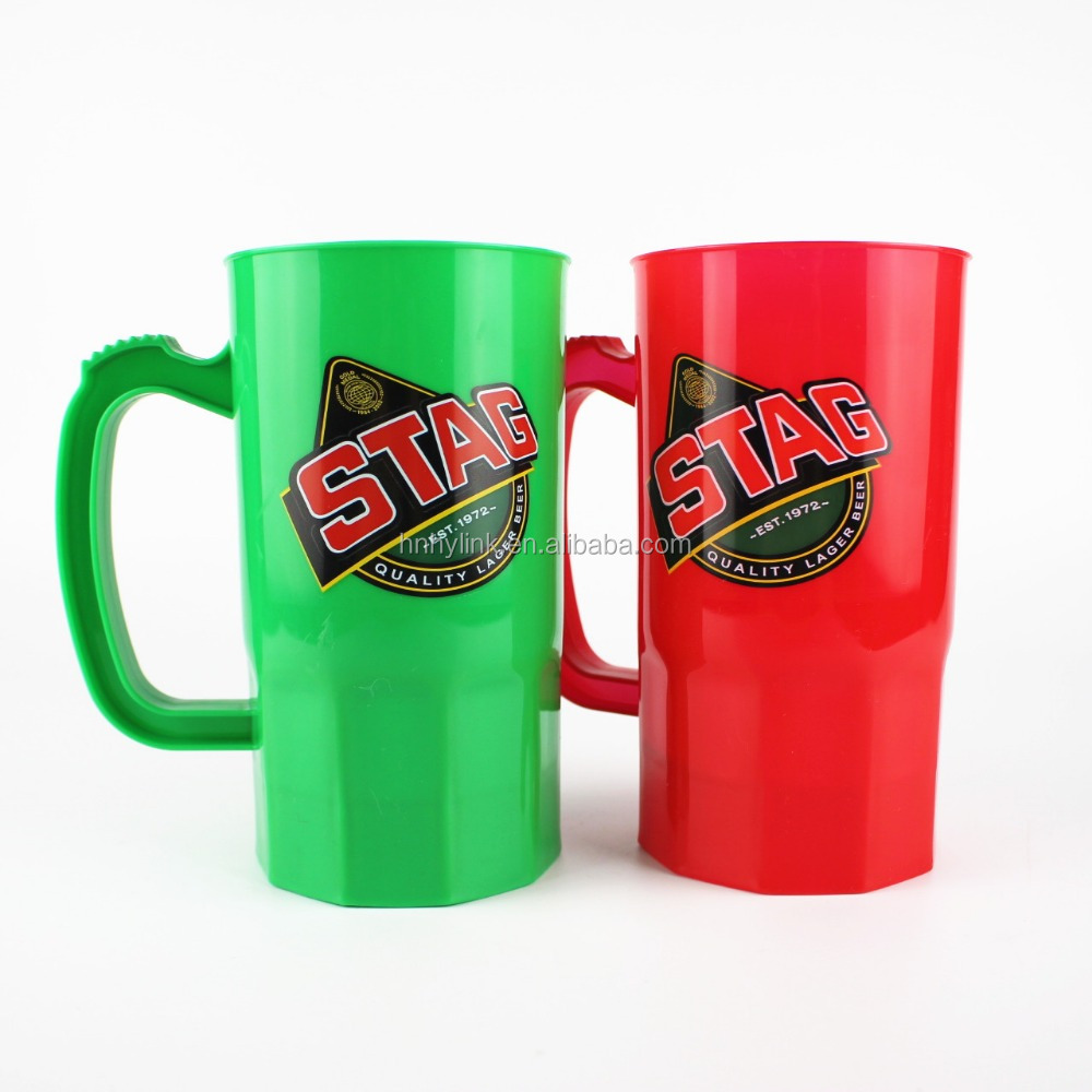 600ML Free Sample Cheap Reusable Custom Plastic Beer Drinking Mug