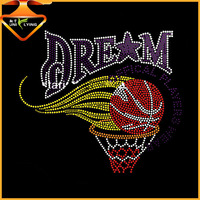 2015 Hot sale DREAM basketball rhinestone heat transfer