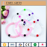 Hot selling jewelry string color silicone bead bracelets pink white blue color