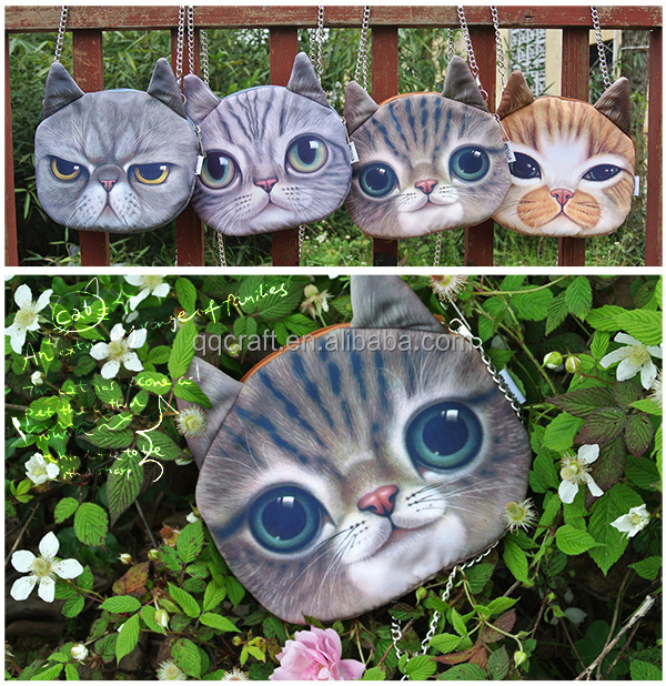 Aimigou wholesale china cheap unique funny cat face coin purse