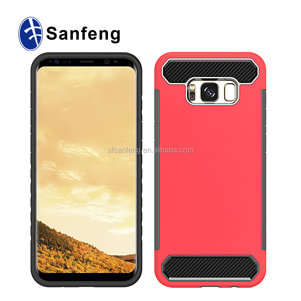 Mobile accessory Anti shock carbon fiber plastic cell phone cover cases for samsung galaxy s8