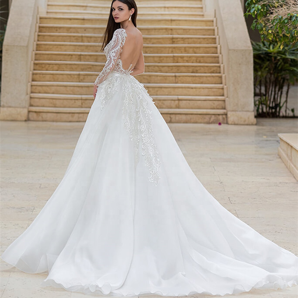 Wedding Gown 2019 Mermaid Wedding Dress Bridal Gown with Detachable Train Lace Wedding Dress with Fishtail Vestido de novia A274