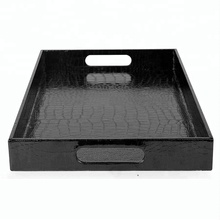 Modern Elegant Black Leather Rectangle Glossy Alligator Croc Serving Tray With Handles